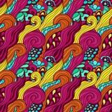 Modèle tiré par la main abstrait coloré sans couture Images stock