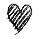 Modèle tiré par la main abstrait de griffonnage en forme de coeur Images stock