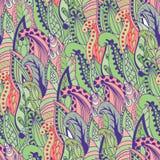 Modèle tiré par la main abstrait sans couture d'herbe, onduleux Image libre de droits