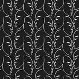 Modèle tiré par la main blanc de visages sur le fond noir Photo stock