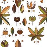 Modèle tiré par la main brun décoratif de vecteur sans couture avec des motifs géométriques, fleurs Conception graphique de cru I illustration stock