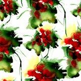 Modèle tiré par la main d'aquarelle avec des fleurs d'imagination Pour la conception, le fond et le textile Photos libres de droits