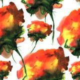 Modèle tiré par la main d'aquarelle avec des fleurs d'imagination Pour la conception, le fond et le textile Photo stock