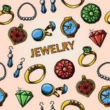 Modèle tiré par la main de bijoux sans couture avec des anneaux Image stock