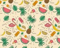 Modèle tiré par la main de fruits tropicaux Photographie stock libre de droits