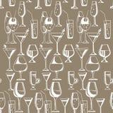 Modèle tiré par la main des boissons et des cocktails d'alcool Illustration de vecteur Photographie stock