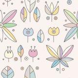 Modèle tiré par la main rose décoratif de vecteur sans couture avec des motifs géométriques, fleurs Conception graphique de cru I illustration stock