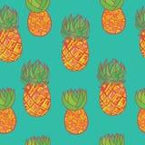 Modèle tiré par la main sans couture avec l'ananas Frui exotique tropical illustration libre de droits