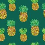 Modèle tiré par la main sans couture avec l'ananas sur le backgro vert-foncé illustration libre de droits
