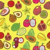 Modèle tiré par la main sans couture avec les fruits exotiques tropicaux Vecteur illustration libre de droits