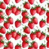 Modèle tiré par la main sans couture de fraises avec le petit morceau Image libre de droits