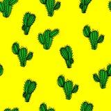 Modèle tiré par la main sans couture de vecteur avec le saguaro de cactus Images libres de droits