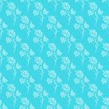 Modèle tiré par la main sans couture des fleurs abstraites de camomille d'isolement sur le fond bleu Dirigez l'illustration flora illustration stock
