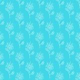 Modèle tiré par la main sans couture des fleurs abstraites de pissenlit d'isolement sur le fond bleu Dirigez l'illustration flora illustration stock