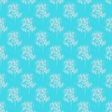 Modèle tiré par la main sans couture des fleurs roses abstraites d'isolement sur le fond bleu Dirigez l'illustration florale Grif illustration de vecteur