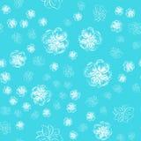 Modèle tiré par la main sans couture des fleurs roses abstraites d'isolement sur le fond bleu Dirigez l'illustration florale Décr illustration stock