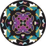 Modèle traditionnel oriental de cercle de feuille de fleur de lotus Images stock