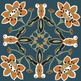 Modèle traditionnel oriental de place de poisson rouge de fleur de lotus Photos libres de droits