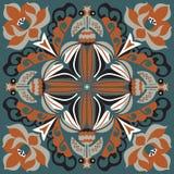 Modèle traditionnel oriental de place de poisson rouge de fleur de lotus Images stock