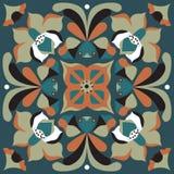 Modèle traditionnel oriental de place de poisson rouge de fleur de lotus Photo stock