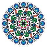 Modèle traditionnel polonais d'art populaire en cercle avec des coqs - Wzory Lowickie, Wycinanka Images libres de droits