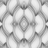 Modèle tribal abstrait sans couture monochrome de vecteur avec des vagues illustration libre de droits