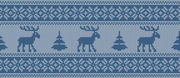 Modèle tricoté avec des cerfs communs et des sapins dans des couleurs bleues Cadre sans joint illustration libre de droits
