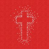 Modèle tricoté par couleur blanche rouge sans couture de style Photographie stock libre de droits