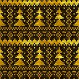 Modèle tricoté sans couture d'or avec des arbres de Noël Images libres de droits