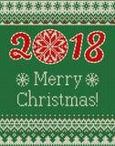 Modèle tricoté sans couture de Joyeux Noël et de nouvelle année avec des boules de Noël Image libre de droits