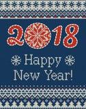 Modèle tricoté sans couture de Joyeux Noël et de nouvelle année avec des boules, des flocons de neige et le sapin de Noël Type sc Photo stock
