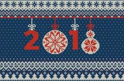 Modèle tricoté sans couture de Joyeux Noël et de nouvelle année avec des boules, des flocons de neige et le sapin de Noël Type sc Photos libres de droits