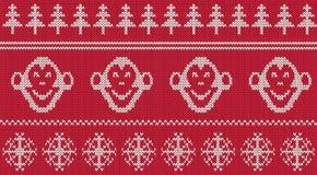 Modèle tricoté sans couture de nouveau singe de 2016 ans Images stock