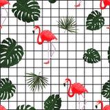 Modèle tropical à la mode avec le flamant Vecteur Fond hawaïen de style avec les plantes tropicales de jungle et l'oiseau de flam Photos stock