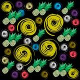 Modèle tropical avec des ananas et des griffonnages illustration libre de droits