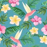 Modèle tropical avec des fleurs et des colibris illustration de vecteur
