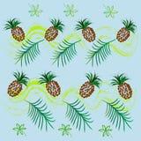 Modèle tropical avec l'aquarelle d'ananas illustration de vecteur