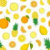 Modèle tropical de fruit Colorez le fond avec le citron, ananas, oranges Illustration de vecteur Image libre de droits