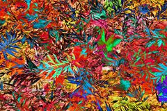 Modèle tropical lumineux de feuille en rouge Image stock