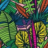 Modèle tropical sans couture avec des feuilles Photographie stock