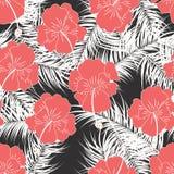 Modèle tropical sans couture avec des feuilles de blanc et des fleurs rouges sur le fond blanc Photographie stock libre de droits