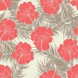 Modèle tropical sans couture avec des feuilles de brun et des fleurs rouges sur le fond de vanille Photographie stock