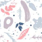 modèle végétal coloré Rose-gris avec un décalage de moitié-place Collecte d'automne Vous trouverez le modèle sans couture dans un illustration libre de droits