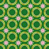 Modèle vert et fleur rose illustration de vecteur