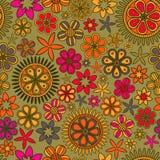 Modèle vert sans couture avec différentes fleurs de couleurs illustration stock