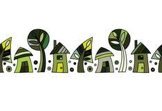 Modèle vert tiré par la main décoratif de vecteur sans couture avec des arbres et des maisons Illustration graphique illustration stock