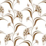 Modèle vertical brun sans couture ornemental dans le style de mehndi de henné Image libre de droits