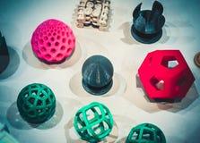 Modèles abstraits imprimés par le plan rapproché de l'imprimante 3d Photographie stock
