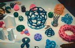 Modèles abstraits imprimés par le plan rapproché de l'imprimante 3d Photographie stock libre de droits