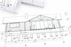 Modèles architecturaux avec des plans de maison Photos libres de droits